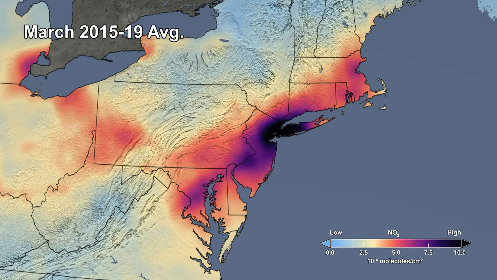2015-2019 Average NO2 for the Northeast US